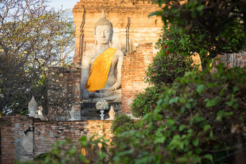 Buddha sculptures at Wat Yai Chai Mongkol, Ayutthaya, Thailand