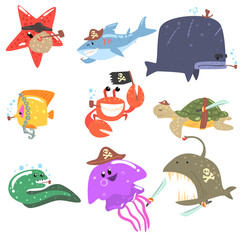 Marine Animals And Underwater Wildlife With Pirate Accesories And Attributes Set Of Comic Cartoon Characters