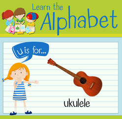 Flashcard letter U is for ukulele