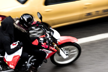 Riding motorbike in the city