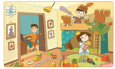 мальчик и девочка в детской комнате играют в принцессу и рыцаря