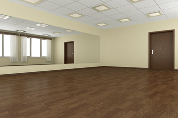 Empty training dance-hall with yellow walls and dark wooden floo
