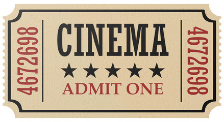 Retro cinema ticket isolated
