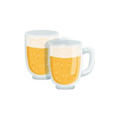 Two Pints Of Foamy Lager Beer, Oktoberfest Festival Drinks Bar Menu Item