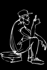 vector sketch of a bearded man wearing a cap and shorts looks in