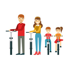 Parents And Kids With Bicycles In Park, Happy Family Having Good Time Together Illustration
