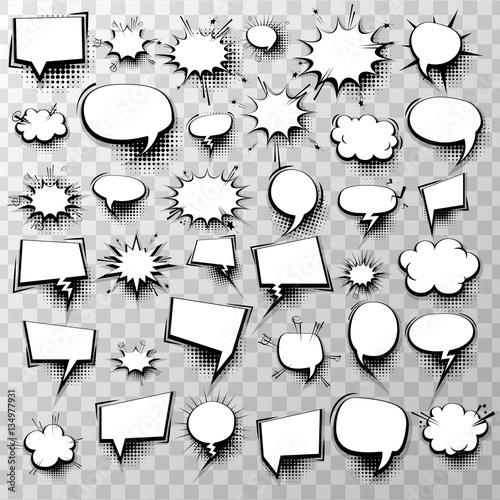 Big Set 36 Blank Effects Template Comic Speech Bubbles Halftone Dot
