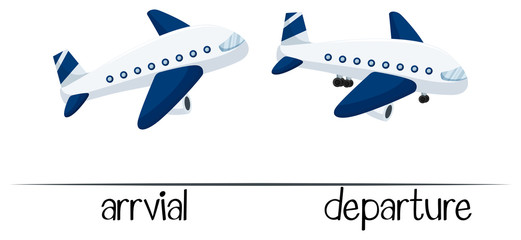 Opposite words for arrival and departure