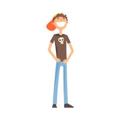 Skinny Teenage Boy Standing Smiling,Part Of Family Members Series Of Cartoon Characters