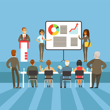 Regular Business Results And Achievement Presentation With Info Materials And Graphic Charts With The Major Shareholders
