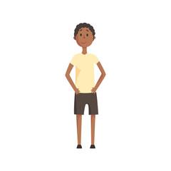 Skinny Teenage Black Boy Smiling,Part Of Family Members Series Of Cartoon Characters