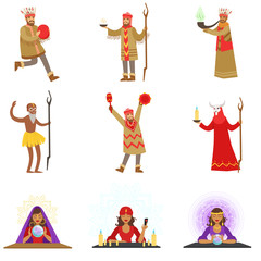 Different Cultures Shamans And Gypsy Fortune-Tellers Set Of Cartoon Characters Performing Occult Rituals