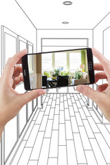 Hand Holding Smart Phone Displaying Photo of the House Hallway Drawing Behind.