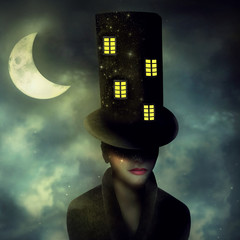 Spoed Fotobehang Surrealisme The Hatter