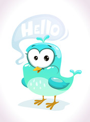 Little cute cartoon blue bird character
