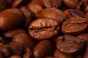 Coffee beans macro background.