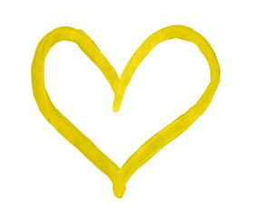 The outline of the yellow heart drawn with paint on white background