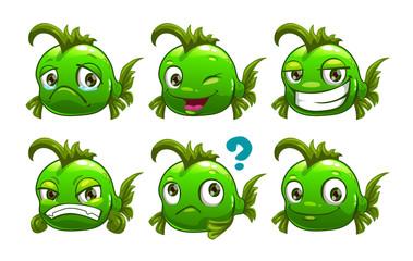 Funny cartoon green fish