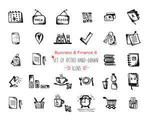 Hand-drawn sketch finance web icon set - economy, money, , payments