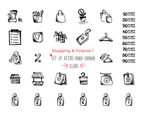Hand-drawn sketch shopping web icon set - finance, economy, money, payments