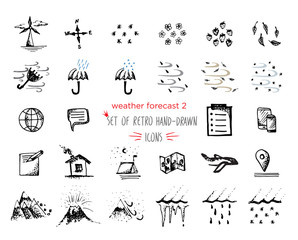 Hand-drawn sketch Weather Icons set