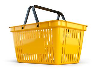 Yellow empty  shopping basket isolated on white background