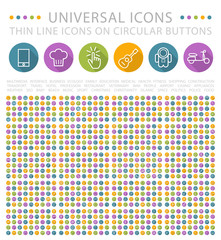 Set of Elegant Universal WhiteMinimalistic Thin Line Icons on Circular Colored Buttons on White Background.