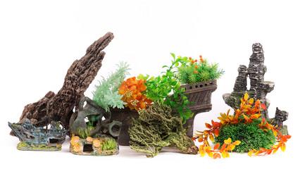 Decorations for aquarium isolated on a white background, aquarium accessories
