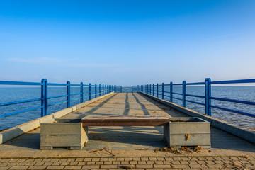 Small pier in Oslonino village at the shore of Baltic Sea. Poland.