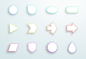 Vector Set of 3d Outline Generic Icon Shapes With Shadows A