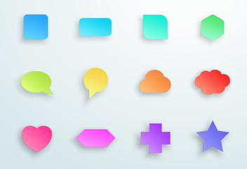 Vector Set of 3d Colourful Generic Icon Shapes With Shadows B