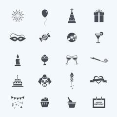 Happy Birthday icons set, vector illustation.