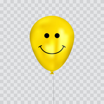 Realistic yellow birthday balloons with smiley cartoon face flying for party or celebrations. Space for message. Isolated on transparency grid.