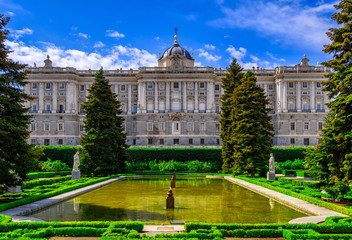 Madrid Royal Palace and Sabatini park in Madrid, Spain.