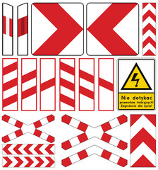 Road signs in Poland. Level crossing and other signs. Vector Format