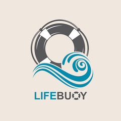 lifebuoy design element with sea waves