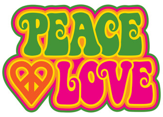 Peace and Love in Green and Pink Wall mural