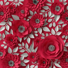 3d illustration, decorative red paper flowers, Valentine's day background, floral wallpaper
