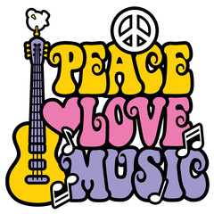 Multicolored Peace-Love-Music