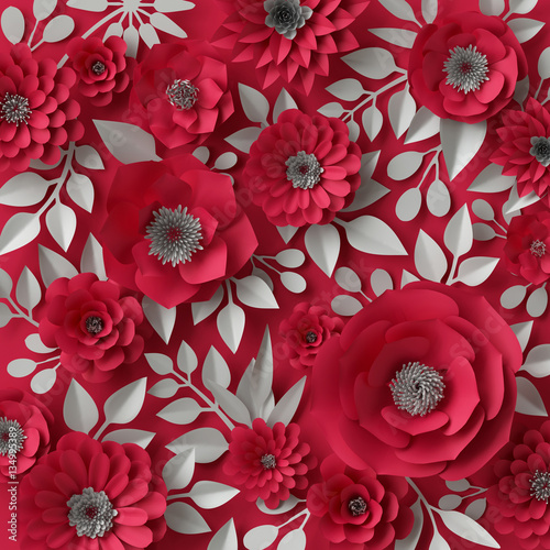 3d Illustration Decorative Red Paper Flowers Valentines Day Background Floral Wallpaper