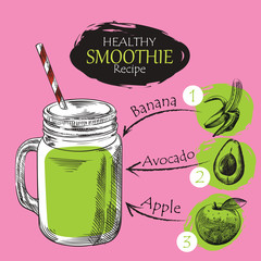 Hand drawn smoothie recipe isolated on blue background. Banana, apple, avocado smoothie sketch elements. Eco healthy ingredients vector illustration. Great for poster, banner, voucher, coupon.