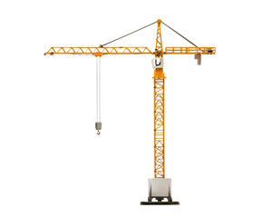 scale model of tower crane isolated on white background