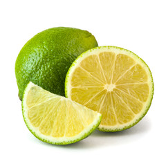 Fresh juicy lime isolated on white background