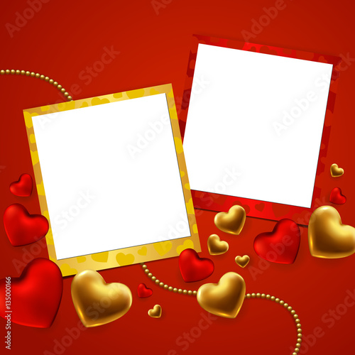 Happy Valentines Day Template With Gold Red Hearts And Photo Frame