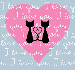 Vector Valentine Cats