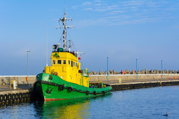 Tugboat Stefan in Wladyslawowo port at Baltic Sea. Poland.