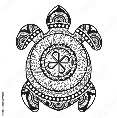 Vector Illustration Of A Turtle Mandala For Coloring Book