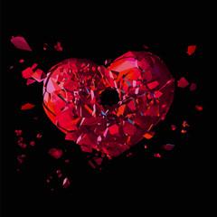 Polygonal broken heart with shot hole on dark BG