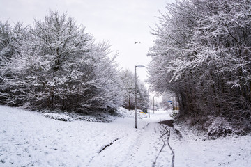 Bike path covered by snow in UK winter in Milton Keynes 3