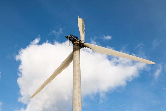 Broken, damaged and abandoned windmill